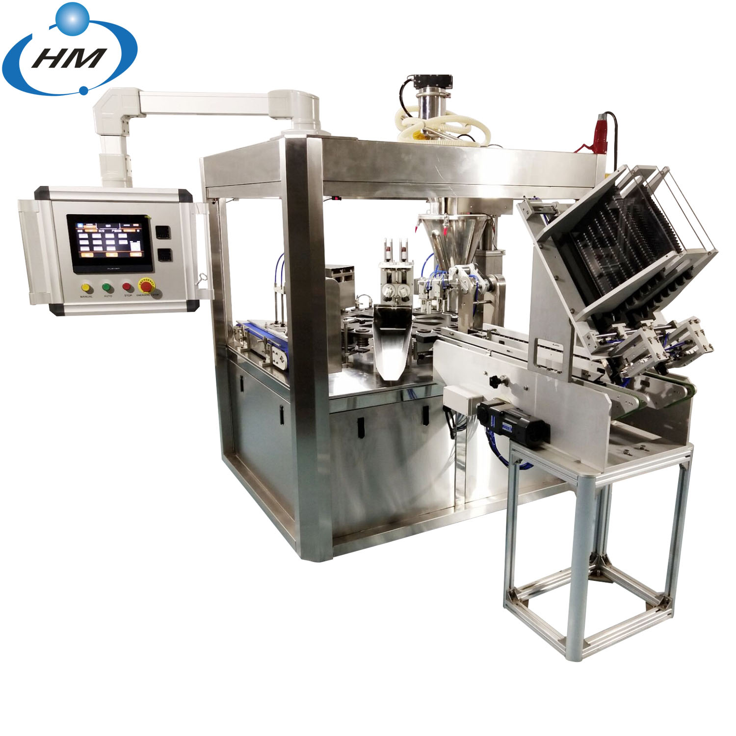HM-2N New two line coffee capsule filling and sealing machine